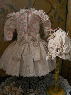 ~~~ Superb French Silk Costume with Bonnet ~~~ from whendreamscometrue on Ruby Lane