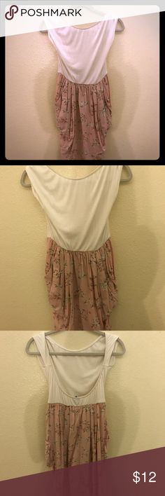 White and floral mini dress with pockets Low cut back, Excellent condition Urban Renewal Dresses Mini