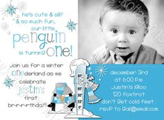 I adore this design for a winter wonderland (one der land!) first 1st birthday party.  Available for boys or girls and for any age, too! Little Penguin  Winter One derland Printable Birthday Party Invitation by www.kottageon5th.etsy.com!