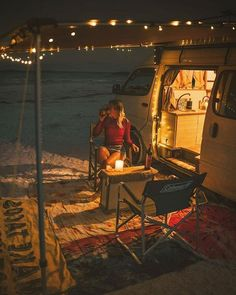 Summer vibes right here. Cleo Cohen has the right idea - fairy lights and .,Summer vibes right here. Cleo Cohen has the right idea - fairy lights and win . Bus Camper, Camper Life, Vw Camping, Glamping, Kombi Home, Van Home, Van Living, Vans, Romantic Evening