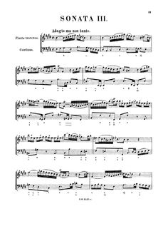 Bach - Sonata No. 6 for Flute and Basso Continuo, BWV 1035 - Free sheet music and accompaniments -   Instruments: Flute,Harpsichord,Violoncello - Find a lot more on www.weezic.com
