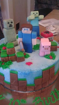 """Fondant """"Minecraft Inspired"""" Cake Topper Set (13 pieces) $45"""