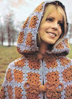 Crochet granny square cape pattern.