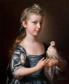 ⍕ Paintings of People & Pets ⍕ Joseph Wright of Derby | Girl with a Dove, 1760s