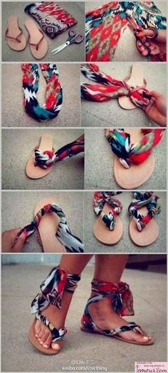 Or use them to revamp a boring pair of sandals. | 23 Totally Brilliant DIYs Made From Common Thrift Store Finds