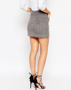ASOS Wool Mix Pocket Mini Skirt - Gray