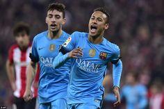 Neymar celebrates with Munir El Haddadi after scoring against Athletic Bilbao on Wednesday...