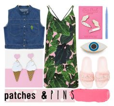 """""""pinned"""" by foundlostme ❤ liked on Polyvore featuring Georgia Perry, Topshop, Chicnova Fashion, Big Bud Press, Puma, Stila, denimvest, slipdress and patchesandpins"""