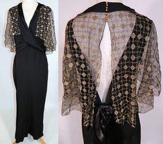 Vintage 1930s Black Silk Crepe Gold Lace Shawl Cape Bias Cut Evening Gown Dress