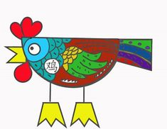 There's a template so that you can color it in the way you want, also.  Crafts for Year of the Rooster: Printable Chinese New Year Projects