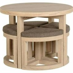 Round Dining Table & 4 Chairs Set Sonoma Oak Breakfast Space Saving Furniture for sale online