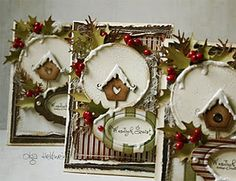 Absolutely love these Christmas card designs—Gingerbread Bird House—great color combinations, texture, placement of materials.