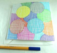 Square greeting card, with unique hand drawn patterns. Available on: www.latourstudio.etsy.com Carte carrée, dessinée à la main.