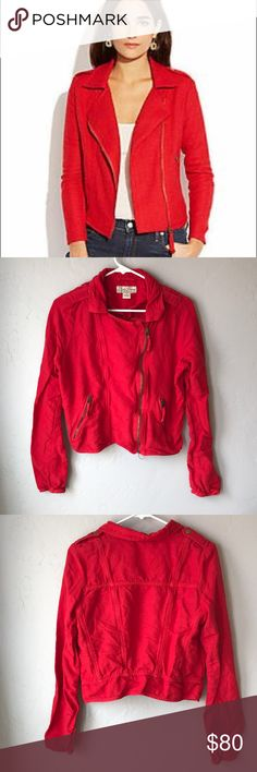 EUC Lucky Brand Addisyn Red Moro Jacket This fun jacket is in excellent condition! It looks a little wrinkly in the photos but that is due to it being a linen blend. I will make sure it's ironed and wrinkle free before shipment. It features a bright tomato red color and brass hardware. Make an offer and add this beautiful jacket to your wardrobe! Lucky Brand Jackets & Coats