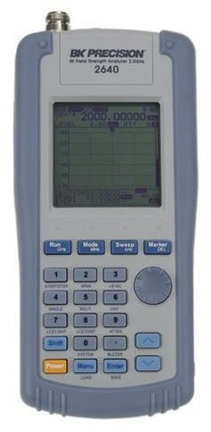 The BK Precision model 2640 is a battery operated, hand-held RF Field Strength Meter capable of measuring RF levels and electric field strength in the 100 kHz to 2 GHz measurement range, and a remarkably low noise floor of -110 dBm to detect weak signals and basic spectrum analyzer functionality.
