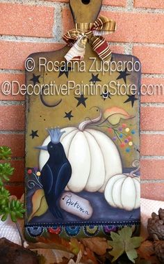 Autumn Silence Pattern - Rosanna Zuppardo - PDF DOWNLOAD  #paintingepattern #whitepumpkinpainting #autumncrowpumpkinsign