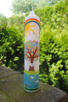 Große Taufkerze für Kinder als Geschenk zur Geburt, Taufe, Kommunion oder Konfirmation / baptism candle with tree of life as gift made by Hänsel & Gretel Candleart via DaWanda.com