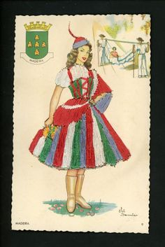 Madeira island, the traditional costume and coat of arms Portugal, Around The World Theme, Coat Of Arms, Paper Dolls, Disney Characters, Fictional Characters, Aurora Sleeping Beauty, 1, Traditional
