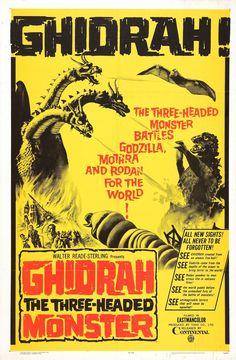 Ghidrah, the Three-Headed Monster (San daikaijû: Chikyû saidai no kessen / Three Giant Monsters: The Greatest Battle on Earth) Japan) // kaiju film poster Old Movie Posters, Horror Movie Posters, Horror Movies, Film Posters, Art Posters, Horror Art, Indie Movies, Old Movies, Vintage Movies