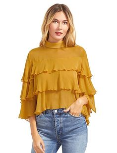 8ef2ea3dfb869b Shop Yellow Buttoned Keyhole Back Layered Ruffle Blouse online. SheIn  offers Yellow Buttoned Keyhole Back Layered Ruffle Blouse amp