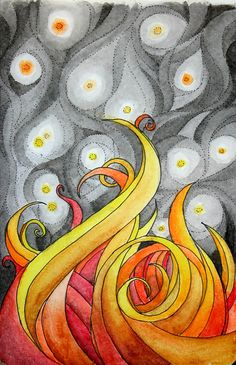 Flames are done. Watercolor pencil and ink. © H Cowart 2012