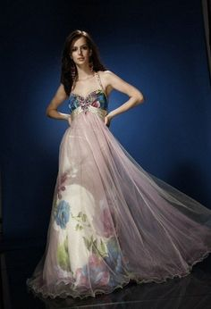 AB029 Halter Floral Print Prom Dress Evening Gown