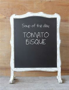 Nicely framed in a distressed paint on wood surround, this dual message board stands on its own two feet to deliver the daily special. Sized small enough to place on a table during a reception or part. Chalkboard Stand, Tomato Bisque, Shabby Chic Farmhouse, Antique Farmhouse, Cottage Chic, Farmhouse Style, Creative Co Op, Old Dressers, Wedding Rentals