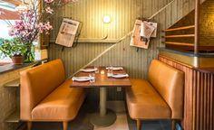 Brand new Greenwich Village brasserie Freud is straight out of turn-of-the-century Vienna. Green Leather Sofa, Restaurant Booth, Restaurant Interior Design, Restaurant Interiors, Wallpaper Magazine, Modern Spaces, Commercial Interiors, Retail Design, Modern Interior
