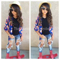 Model Khia Lopez wearing new Electric Blue Kimono jacket. Also black pocket tee. Shop now at www.theweekendwardrobe.com