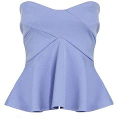 Jasmine Strapless Seam Detail Peplum Top ($6.18) ❤ liked on Polyvore featuring tops, shirts, crop top, crop shirt, shirt top, blue peplum shirt, shirt crop top and cut-out crop tops