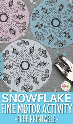 Here is a simple snowflake fine motor activity for kids. Kiddos enjoy punching holes in these paper snowflakes. Download the free printable snowflakes today. Perfect for your winter theme, snow them, or snowflake theme units and lesson plans in preschool, pre-k, kindergarten, and OT. Add them to your fine motor center, or art and craft centers. Decorate a tree, decorate your classroom.