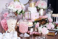 Side-view of a dessert table from a Copper, Pink & Gold Princess Party via Kara's Party Ideas | KarasPartyIdeas.com (22)