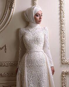 Beautiful hijabi wedding dressYou can find Hijab bride and more on our website. Hijabi Wedding, Wedding Hijab Styles, Muslimah Wedding Dress, Muslim Wedding Dresses, Muslim Dress, Dream Wedding Dresses, Hijab Dress, Dress Muslimah, Lace Bridal