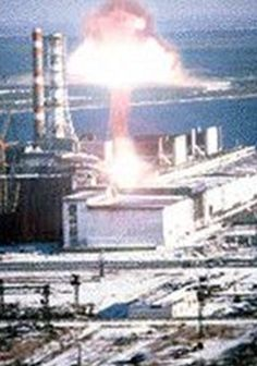 Explosion at Reactor 4, Chernobyl nuclear power station, Ukraine, 26 April 1986.