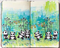 Elina's Arts And Crafts: Panda bears on art journal page