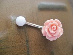 Rose Bud Belly Button Ring Coral Pink Flower by Azeetadesigns, $15.00