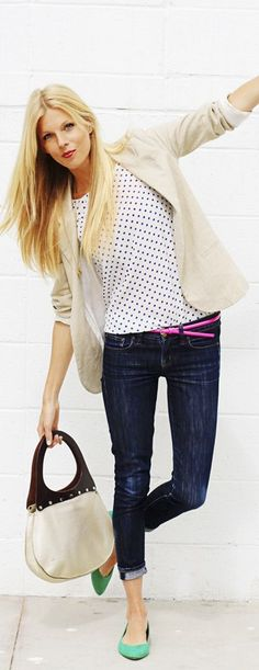 Casual Tuesday by Lolobu...use Ruby skinny jeans, Occasion Jacket, and pick something fun to wear under it!