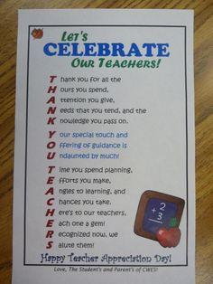 Teacher Appreciation Flyer - I placed this in each of the teachers school mailboxes on Teacher Appreciation Day.   Thank you (mrsjacksonsclasswebsiteblog.blogspot.com) for the idea.