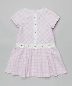 Another great find on #zulily! Pink Plaid Flower Dress - Toddler & Girls #zulilyfinds