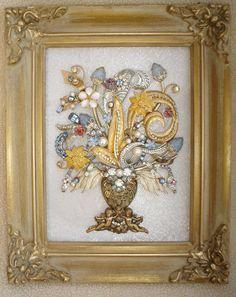 VINTAGE RHINESTONE JEWELRY ART FRAMED FLOWER BOUQUET TREE ~ SPRING ~ CHRISTMAS