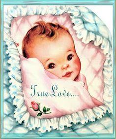 Sweet vintage baby card