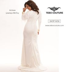 #Lisaraye #wearing @TeboCouture Gown. All #White #Everything - SHOP for Gowns at http://www.tebocouture.com/