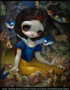Snow White in the Forest by Jasmine Becket-Griffith Disney for Disneyland& WonderGround Gallery big eye lowbrow pop surrealism Disney art EXPO 2015 Amy Brown, Princesas Disney Dark, Disney Fine Art, Dark Disney, Fairy Pictures, Gothic Fairy, Disney Kunst, Pop Surrealism, Fairy Art