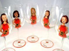Unique Bridesmaid Wine Glasses from Etsy