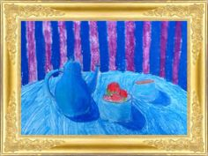 www.FruBilledkunst.dk - still life 4th grade. Still life with warm cocoa and apples and cool background.