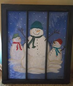 Recycled Vintage Window Painted with Snowmen by ipaintstuff, $35.00