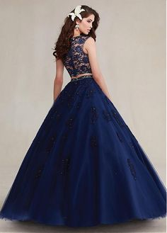 Exquisite  Two-piece Lace & Tulle Jewel Neckline Ball Gown Quinceanera Dresses With  Beadings & Rhinestones & Beaded  Lace Appliques