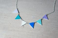 Bunting Necklace Green Blue & Purple by sawyerandscout on Etsy, £8.00