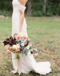 Color Theory Collective used pretty blue delphinium (still in-season in October!), blush and yellow roses, and burgundy smokebush leaves to create this. Fall Wedding Bouquets, Fall Wedding Flowers, Fall Wedding Decorations, Fall Wedding Colors, Bride Bouquets, Fall Flowers, Bridesmaid Bouquet, Floral Wedding, Fall Bouquets
