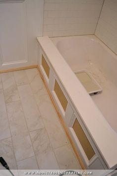 Home Remodeling Diy DIY bathtub skirt - step 7 - add a ledge to the top using silicone adhesive - Add class to your standard side-apron soaking bathtub with this DIY tub skirt (decorative panel). Bathroom Renos, Bathroom Renovations, Home Renovation, Small Bathroom, Attic Bathroom, Bathroom Ideas, Bathroom Tubs, Concrete Bathroom, White Bathrooms